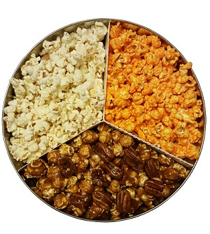 (Tin1) CREATE A TIN WITH 1/3 of tin (PECAN, CASHEW OR ALMOND CARAMEL POPCORN) AND 2/3 OF TIN FROM OTHER FLAVORS LIST.   Select 2 or 3 flavors.