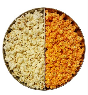 (Tin.5)  Create a Tin with one half of tin (Pecan, Cashew or Almond Caramel Popcorn) and one half from the OTHER FLAVORS LIST.   Select 2 flavors.